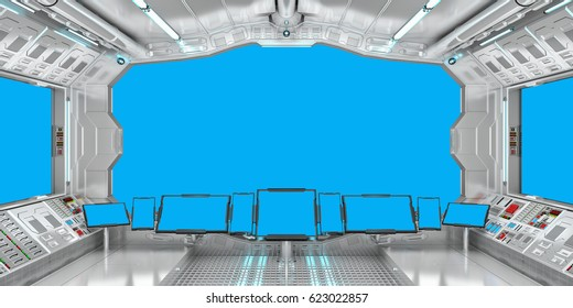 Spaceship interior with view on blue windows 3D rendering elements of this image furnished by NASA