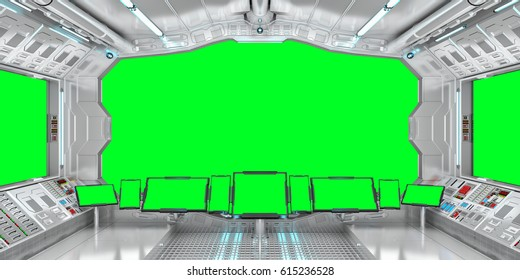 Spaceship interior with view on green windows 3D rendering elements of this image furnished by NASA