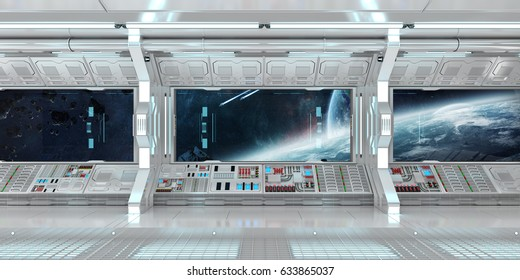 Spaceship interior with view on space and distant planets system 3D rendering elements of this image furnished by NASA