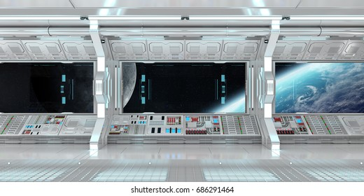 Spaceship interior with view on space and planet Earth 3D rendering elements of this image furnished by NASA