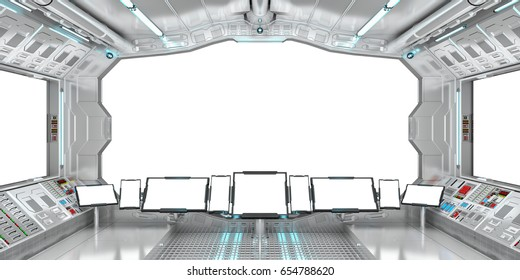 Spaceship interior with view on white windows 3D rendering elements of this image furnished by NASA