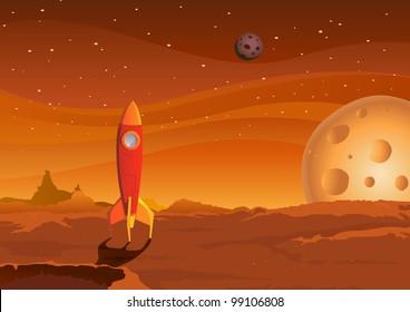 Spaceship On Martian Landscape/ Illustration of a cartoon spaceship landing on martian red desert landscape