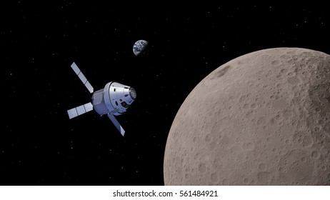 Spaceship Orion near the Moon 3D illustration (Elements of this image furnished by NASA)