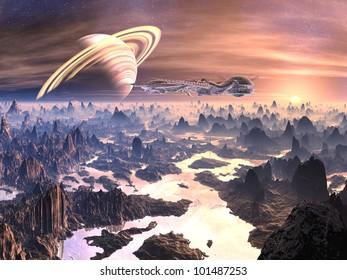 Spaceship Over Hostile Alien Terrain