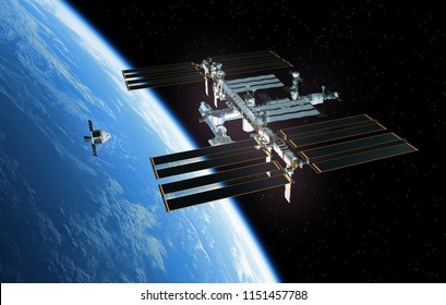Spaceship Is Preparing To Dock With International Space Station. 3D Illustration.