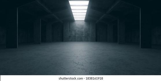 Spaceship Sci Fi Concrete Rough Cement Garage Tunnel Corridor Warehouse Showroom Underground Futuristic Modern Background 3D Rendering  Illustration