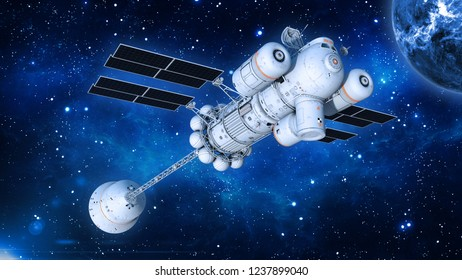 Spaceship with solar panels in deep space, UFO spacecraft flying in the Universe with planet and stars, bottom view, 3D rendering