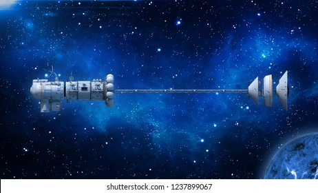 Spaceship with solar panels in deep space, UFO spacecraft flying in the Universe with planet and stars, side view, 3D rendering