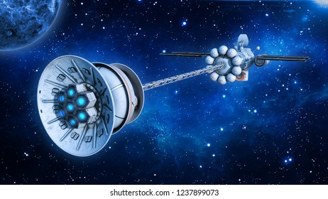 Spaceship with solar panels in deep space, UFO spacecraft flying in the Universe with planet and stars, rear view, 3D rendering
