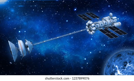 Spaceship with solar panels in deep space, UFO spacecraft flying in the Universe with planet and stars, top view, 3D rendering