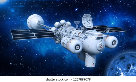 Spaceship with solar panels in deep space, UFO spacecraft flying in the Universe with planet and stars, front view, 3D rendering