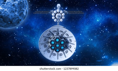 Spaceship with solar panels in deep space, UFO spacecraft flying in the Universe with planet and stars, back view, 3D rendering