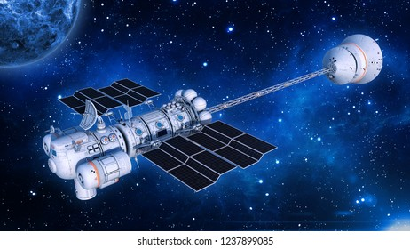Spaceship with solar panels in deep space, UFO spacecraft flying in the Universe with planet and stars, 3D rendering