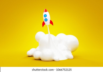 Spaceship startup rocket in the yellow background. Successful launch concept of business. 3d render illustration.