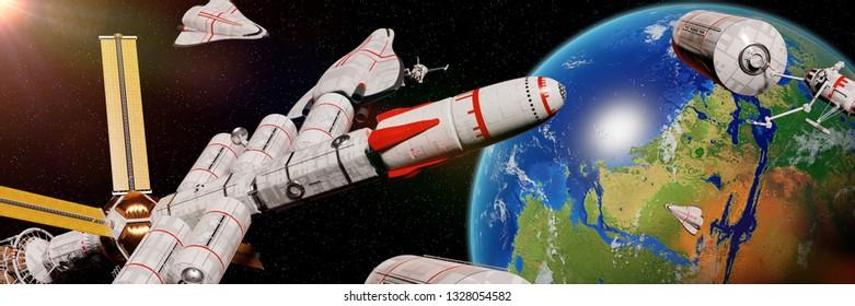 spaceship traffic in orbit of terraformed Mars, living on the red planet (3d space illustration header)