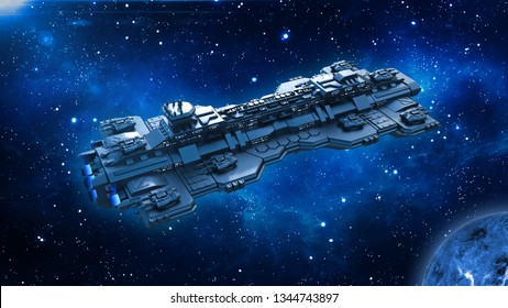 Spaceship traveling in deep space, alien UFO spacecraft flying in the Universe with planet and stars, top view, 3D rendering