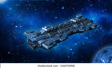 Spaceship traveling in deep space, alien UFO spacecraft flying in the Universe with planet and stars, 3D rendering