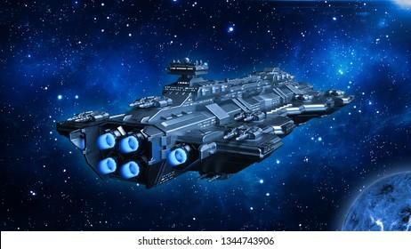 Raumschiff im Weltraum, außerirdisches UFO-Raumschiff, das im Universum mit Planeten und Sternen fliegt, Rückansicht, 3D-Darstellung