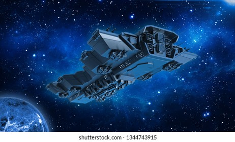 Spaceship traveling in deep space, alien UFO spacecraft flying in the Universe with planet and stars, bottom view, 3D rendering