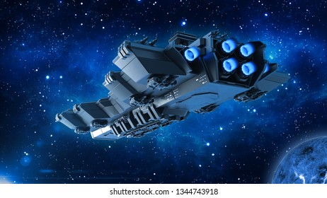Spaceship traveling in deep space, alien UFO spacecraft flying in the Universe with planet and stars, rear bottom view, 3D rendering