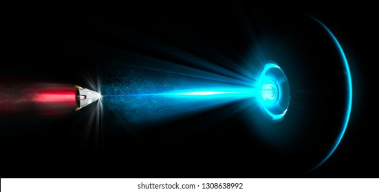 Spaceship, UFO, tractor beam. Spatial module struck by a laser beam. Ray of light. Repulsive ray. Galactic battles. Science fiction. 3d rendering