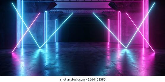 Spaceship Virtual Futuristic Sci Fi Neon Glowing Fluorescent Track Purple Blue Pink Corridor Path Gate Tunnel Gallery Light Lines Triangle Shaped Underground Grunge Concrete Glossy Dark 3D Rendering