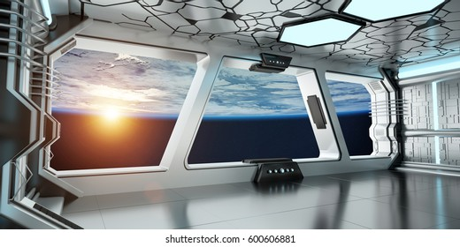 Spaceship white and blue interior with view on space and planet Earth 3D rendering elements of this image furnished by NASA