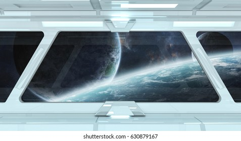 Spaceship white corridor with view on space and distant planets system 3D rendering elements of this image furnished by NASA