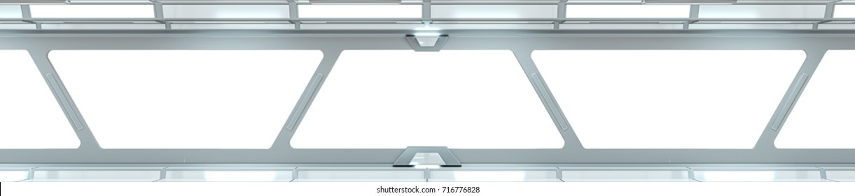 Spaceship white corridor with view on a white window 3D rendering