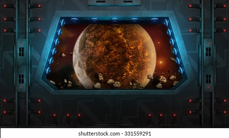 Spaceship Window. Red planet and asteroids. 3D illustration.