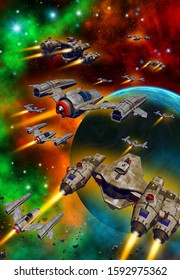 spaceships fleet Flying to the earth, 3d illustration