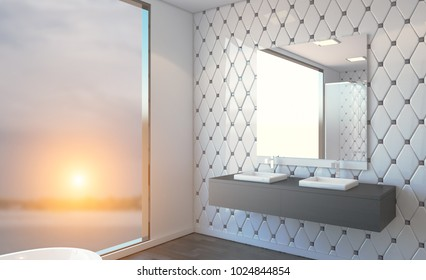 Spacious bathroom in gray tones with heated floors, freestanding tub. 3D rendering. Sunset