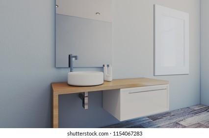 Spacious bathroom in gray tones with heated floors, freestanding tub. 3D rendering.. Blank paintings.  Mockup.