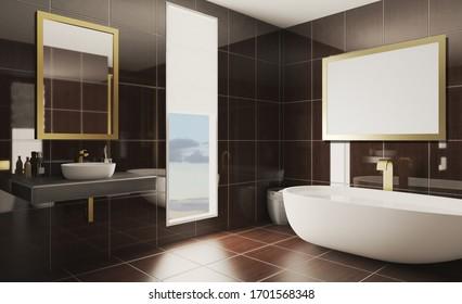 Spacious bathroom in gray tones with heated floors, freestanding tub. 3D rendering.