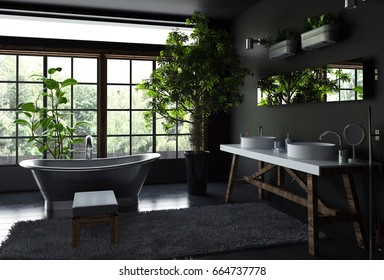 Spacious bathroom interior concept with black walls and floor, furry rug near freestanding metal bath against bright wide windows and lots of green indoor plants. 3d Rendering.