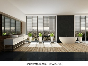 Spacious bathroom with stylish decor, a light wood floor, large double vanity, oval bathtub and potted plants in front of view windows. 3d rendering.
