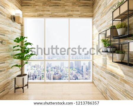 Spacious Bright Balcony Solid Wood Floors Stock Illustration