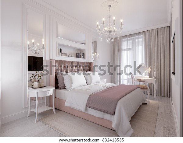 Spacious Bright Modern Contemporary Classic Bedroom Stock Illustration 632413535