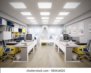 Spacious and bright modern office with white furniture. 3d rendering