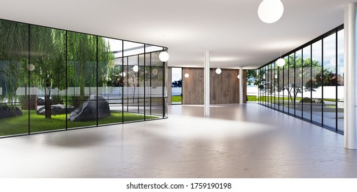 Geräumige, helle Zimmer mit viel Grün hinter dem Glas. Öffentliche Räume für Büro, Galerie, Ausstellung. 3D-Darstellung.