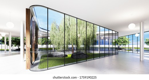 Spacious bright spatial rooms with lots of greenery behind the glass. Public premises for office, gallery, exhibition. 3D rendering.