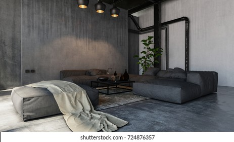 Spacious cold living room with sofas in loft style. 3d Rendering