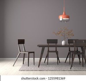 Spacious dining room with wooden table and chairs. 3D illustration