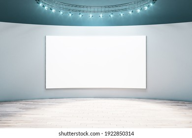 Spacious empty hall room with blank white poster on light wall, parquet floor and led light on top. Mockup. 3D rendering