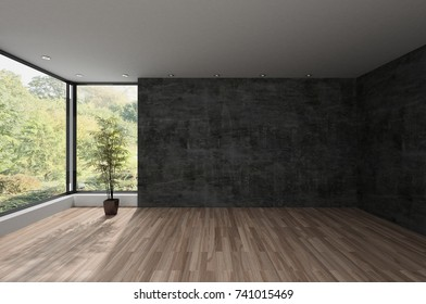 Spacious empty room with large view window overlooking an extensive park with trees. 3d rendering