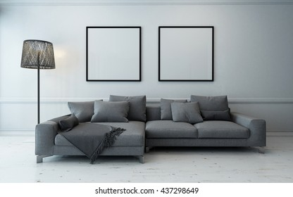 Spacious living room with grey couch and lamp beside wall with two empty square frames. 3d Rendering.