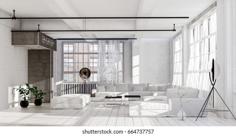 Spacious living room in white minimalist interior design, with white couches, huge windows with light curtains, stereo speaker system on tripod legs, long thin black lamps. 3d Rendering.