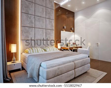 Spacious Master Bedroom Wooden Wall Panels Stock Illustration ...