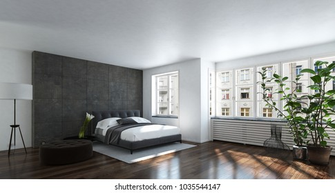 Spacious modern bright bedroom with wide windows and houseplant. 3d Rendering