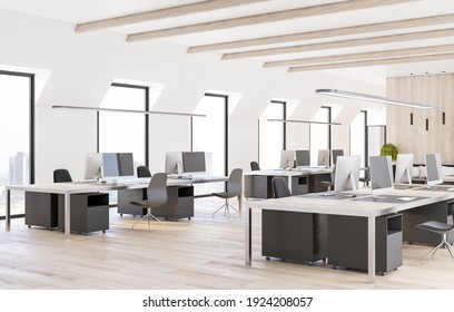 Spacious modern coworking office with eco style furniture, wooden floor and comfortable workplaces. 3D rendering